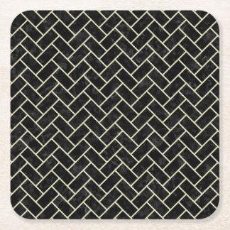 BRICK2 BLACK MARBLE & BEIGE LINEN SQUARE PAPER COASTER