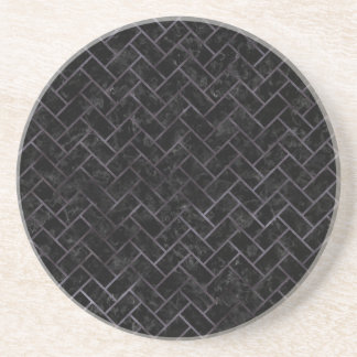 BRICK2 BLACK MARBLE & BLACK WATERCOLOR COASTER