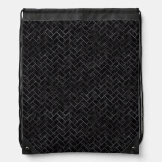 BRICK2 BLACK MARBLE & BLACK WATERCOLOR DRAWSTRING BAG