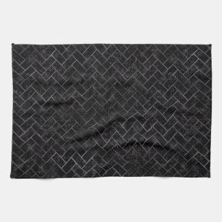 BRICK2 BLACK MARBLE & BLACK WATERCOLOR HAND TOWELS