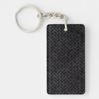 BRICK2 BLACK MARBLE & BLACK WATERCOLOR KEYCHAIN