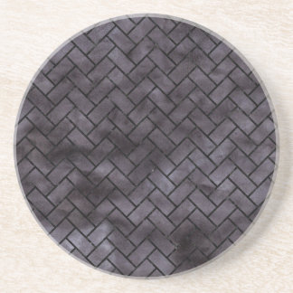 BRICK2 BLACK MARBLE & BLACK WATERCOLOR (R) COASTER