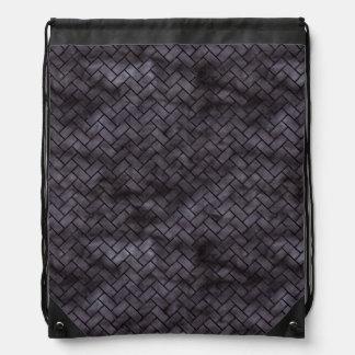 BRICK2 BLACK MARBLE & BLACK WATERCOLOR (R) DRAWSTRING BAG