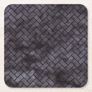 BRICK2 BLACK MARBLE & BLACK WATERCOLOR (R) SQUARE PAPER COASTER