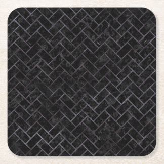BRICK2 BLACK MARBLE & BLACK WATERCOLOR SQUARE PAPER COASTER