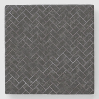 BRICK2 BLACK MARBLE & BLACK WATERCOLOR STONE COASTER