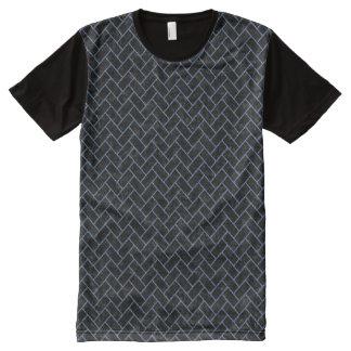 BRICK2 BLACK MARBLE & BLUE DENIM All-Over-Print T-Shirt