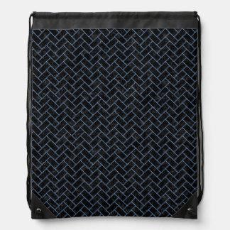 BRICK2 BLACK MARBLE & BLUE DENIM DRAWSTRING BAG