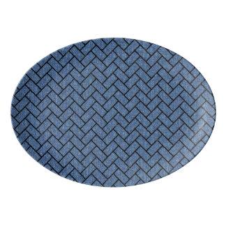BRICK2 BLACK MARBLE & BLUE DENIM (R) PORCELAIN SERVING PLATTER