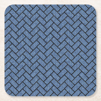 BRICK2 BLACK MARBLE & BLUE DENIM (R) SQUARE PAPER COASTER