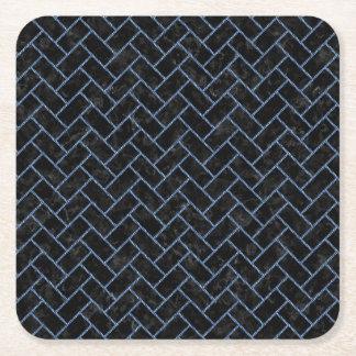 BRICK2 BLACK MARBLE & BLUE DENIM SQUARE PAPER COASTER