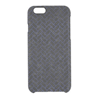 BRICK2 BLACK MARBLE & BLUE LEATHER CLEAR iPhone 6/6S CASE