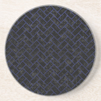 BRICK2 BLACK MARBLE & BLUE LEATHER COASTER