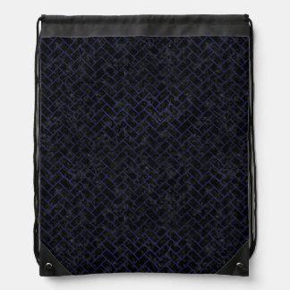 BRICK2 BLACK MARBLE & BLUE LEATHER DRAWSTRING BAG
