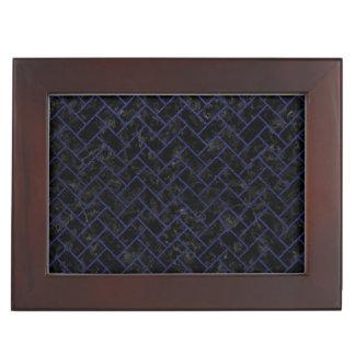 BRICK2 BLACK MARBLE & BLUE LEATHER KEEPSAKE BOX