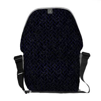 BRICK2 BLACK MARBLE & BLUE LEATHER MESSENGER BAG