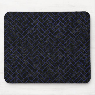 BRICK2 BLACK MARBLE & BLUE LEATHER MOUSE PAD