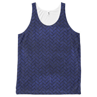 BRICK2 BLACK MARBLE & BLUE LEATHER (R) All-Over-Print TANK TOP