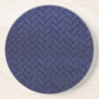 BRICK2 BLACK MARBLE & BLUE LEATHER (R) COASTER