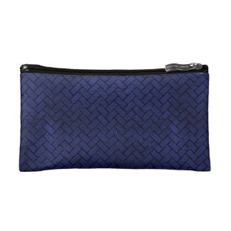 BRICK2 BLACK MARBLE & BLUE LEATHER (R) COSMETIC BAG