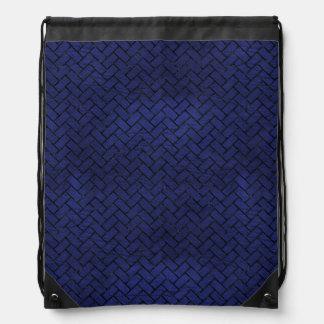 BRICK2 BLACK MARBLE & BLUE LEATHER (R) DRAWSTRING BAG