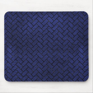 BRICK2 BLACK MARBLE & BLUE LEATHER (R) MOUSE PAD