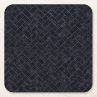 BRICK2 BLACK MARBLE & BLUE LEATHER SQUARE PAPER COASTER