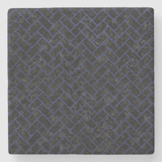 BRICK2 BLACK MARBLE & BLUE LEATHER STONE COASTER