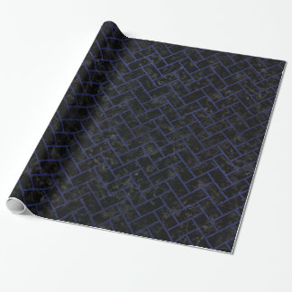 BRICK2 BLACK MARBLE & BLUE LEATHER WRAPPING PAPER