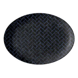 BRICK2 BLACK MARBLE & BLUE STONE PORCELAIN SERVING PLATTER
