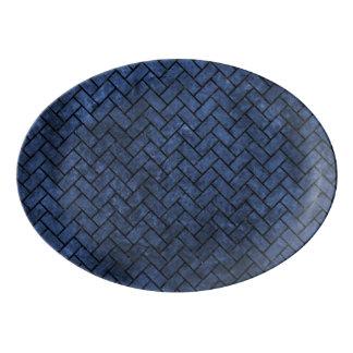 BRICK2 BLACK MARBLE & BLUE STONE (R) PORCELAIN SERVING PLATTER