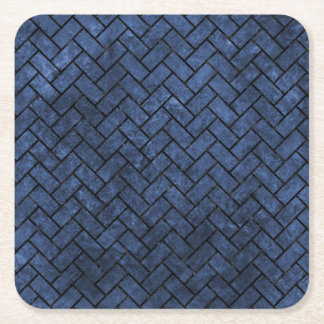 BRICK2 BLACK MARBLE & BLUE STONE (R) SQUARE PAPER COASTER