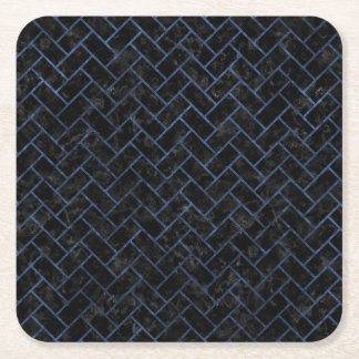BRICK2 BLACK MARBLE & BLUE STONE SQUARE PAPER COASTER