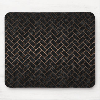 BRICK2 BLACK MARBLE & BRONZE METAL MOUSE PAD