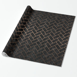 BRICK2 BLACK MARBLE & BRONZE METAL WRAPPING PAPER