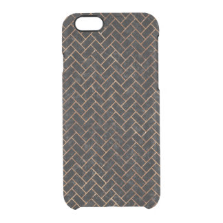 BRICK2 BLACK MARBLE & BROWN STONE CLEAR iPhone 6/6S CASE