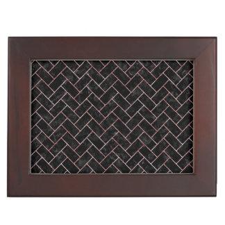 BRICK2 BLACK MARBLE & RED & WHITE MARBLE KEEPSAKE BOX