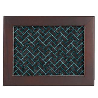 BRICK2 BLACK MARBLE & TURQUOISE MARBLE KEEPSAKE BOX