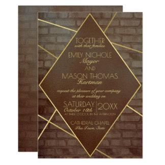 Brick and Bronze Industrial Wedding Card