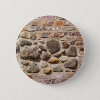 Brick and stone wall 2 inch round button