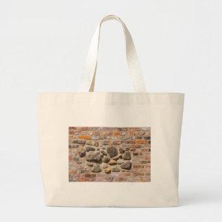 Brick and stone wall large tote bag