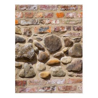 Brick and stone wall postcard
