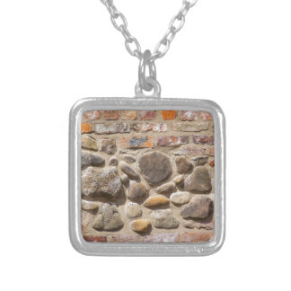 Brick and stone wall silver plated necklace