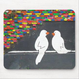 brick bird wall : graffiti wall mouse pad
