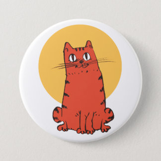 brick color cat sweet kitty funny cartoon 3 inch round button