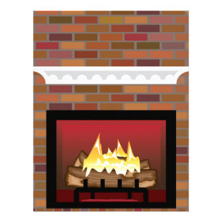 Brick Fireplace vector Letterhead Template
