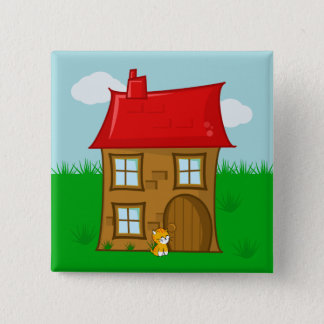 Brick House with Red Roof and Ginger Cat 2 Inch Square Button