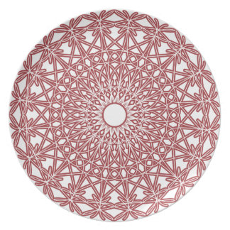 Brick Red Crocheted Lace Plate