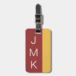 Brick Red Gold Bold Stripe Cusotm Initials Color Luggage Tag