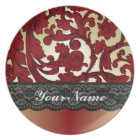 Brick red & gold damask plate